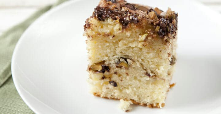Dark Chocolate and Pistachio Coffee Cake