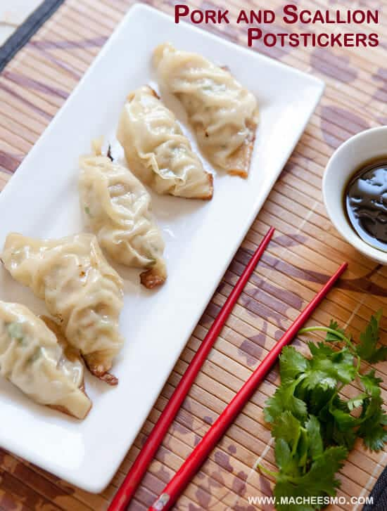 Pork and shrimp Homemade Potstickers via Macheesmo