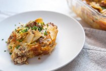 Half breakfast casserole, half enchilada dish, this baked sausage and egg dish is a favorite of mine. Prepare it the night before or day of. It has just enough cheese and crispy tortilla toppings!
