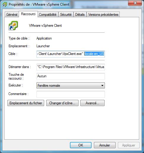 Changer la langue du client Vmware