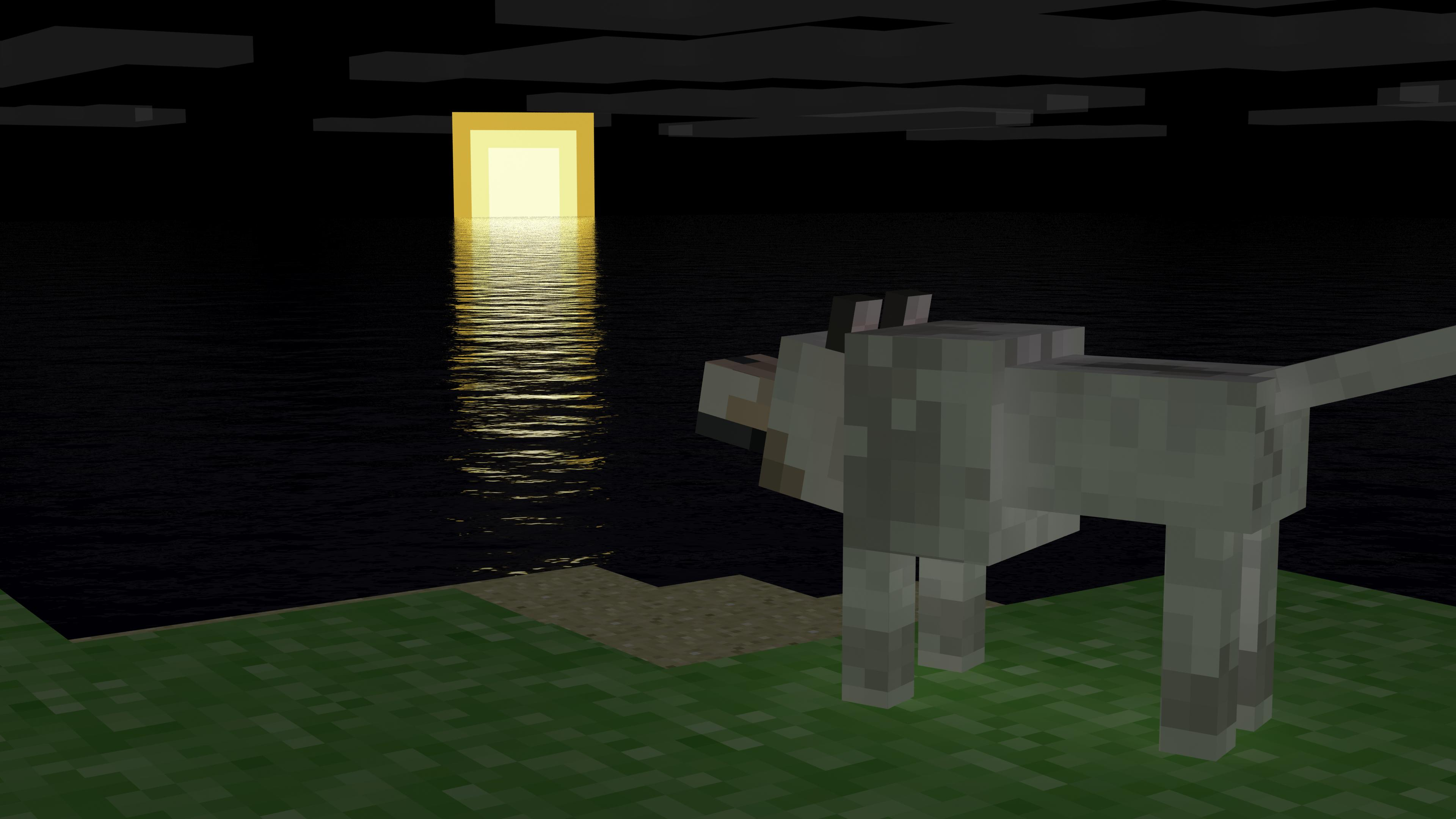 Minecraft Wolf with Date and Time