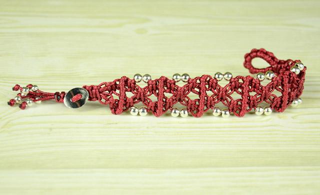 X Patterned Square Knot Bracelet