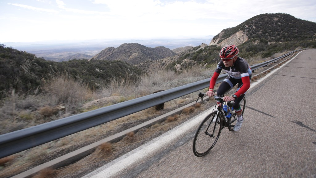 Climbing up Kitt Peak at Cinch Cycling Camp in Tucson