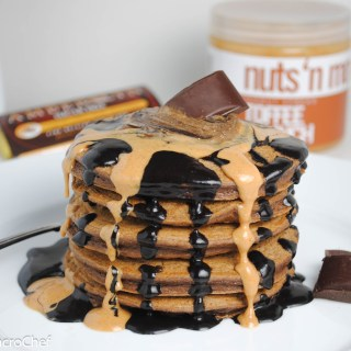 Double Chocolate Toffee Protein Pancakes