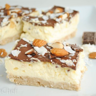 Almond Joy Protein Cheesecake Bars