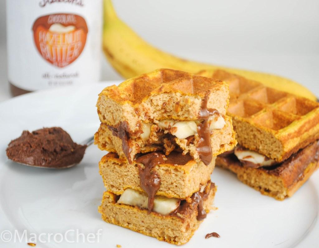Banana Nutella Protein Waffle Sandwich