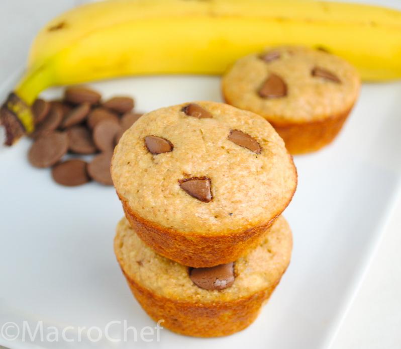 Banana Bread Chocolate Chunk Protein Muffins | MacroChef
