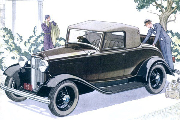 1932 Ford B-68 V8 Deluxe Cabriolet watercolor-