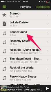 Soundhound-Playlist in Spotify