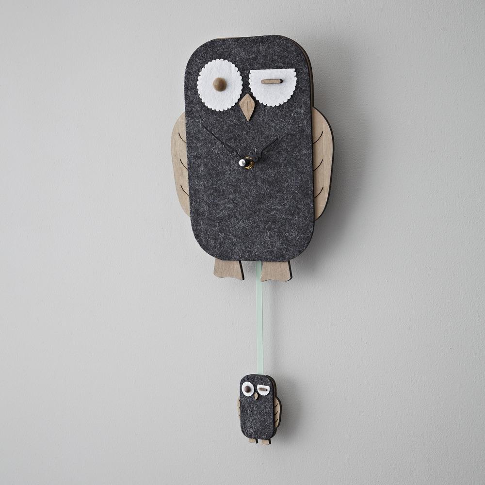 Objects of Design #197: Grey Felt Owl Wall Clock