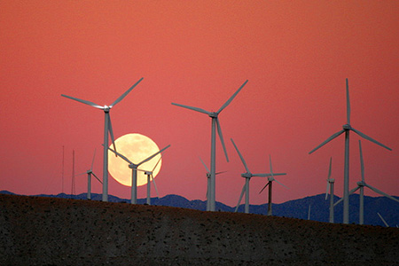 Moon Rise behind the San Gorgonio Pass Wind Farm by Caveman 92223