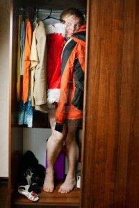 hiding in the closet