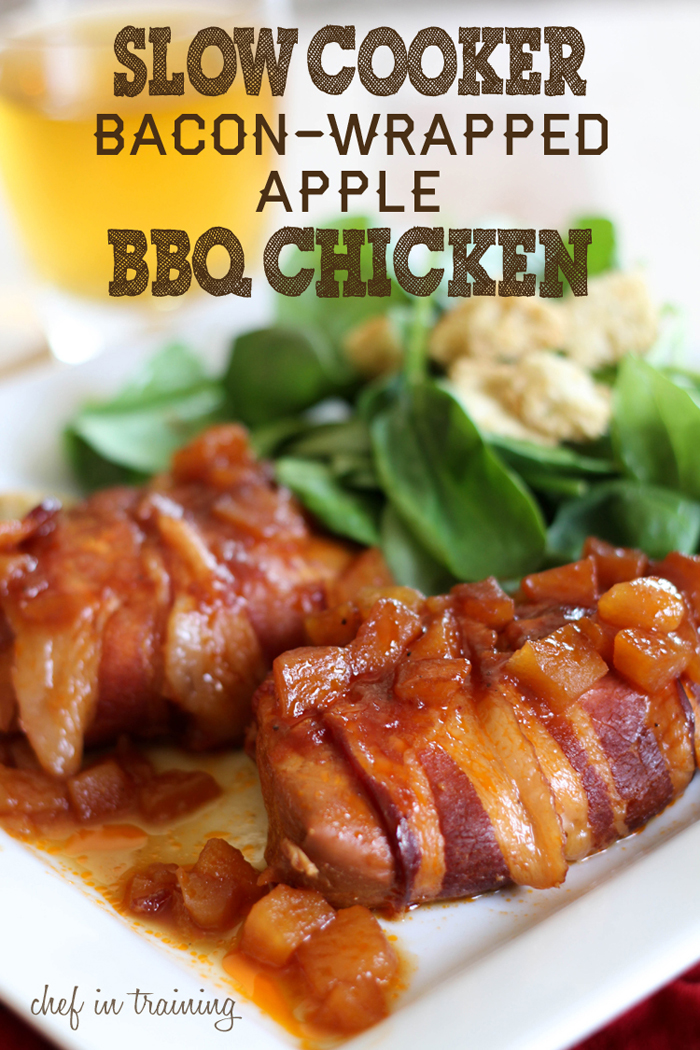 Slow Cooker Bacon Wrapped Apple BBQ Chicken from Chef in Training