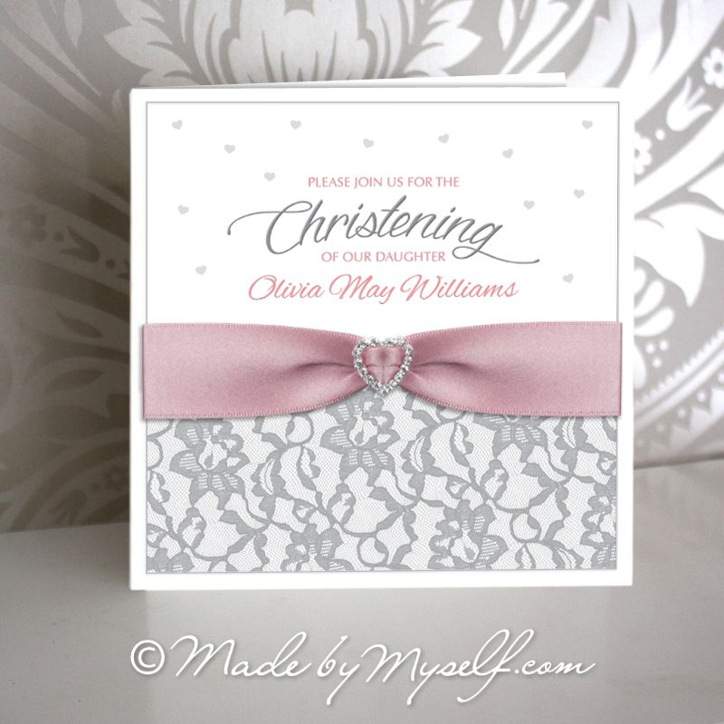 Lace And Ribbon Christening Invitation Girl