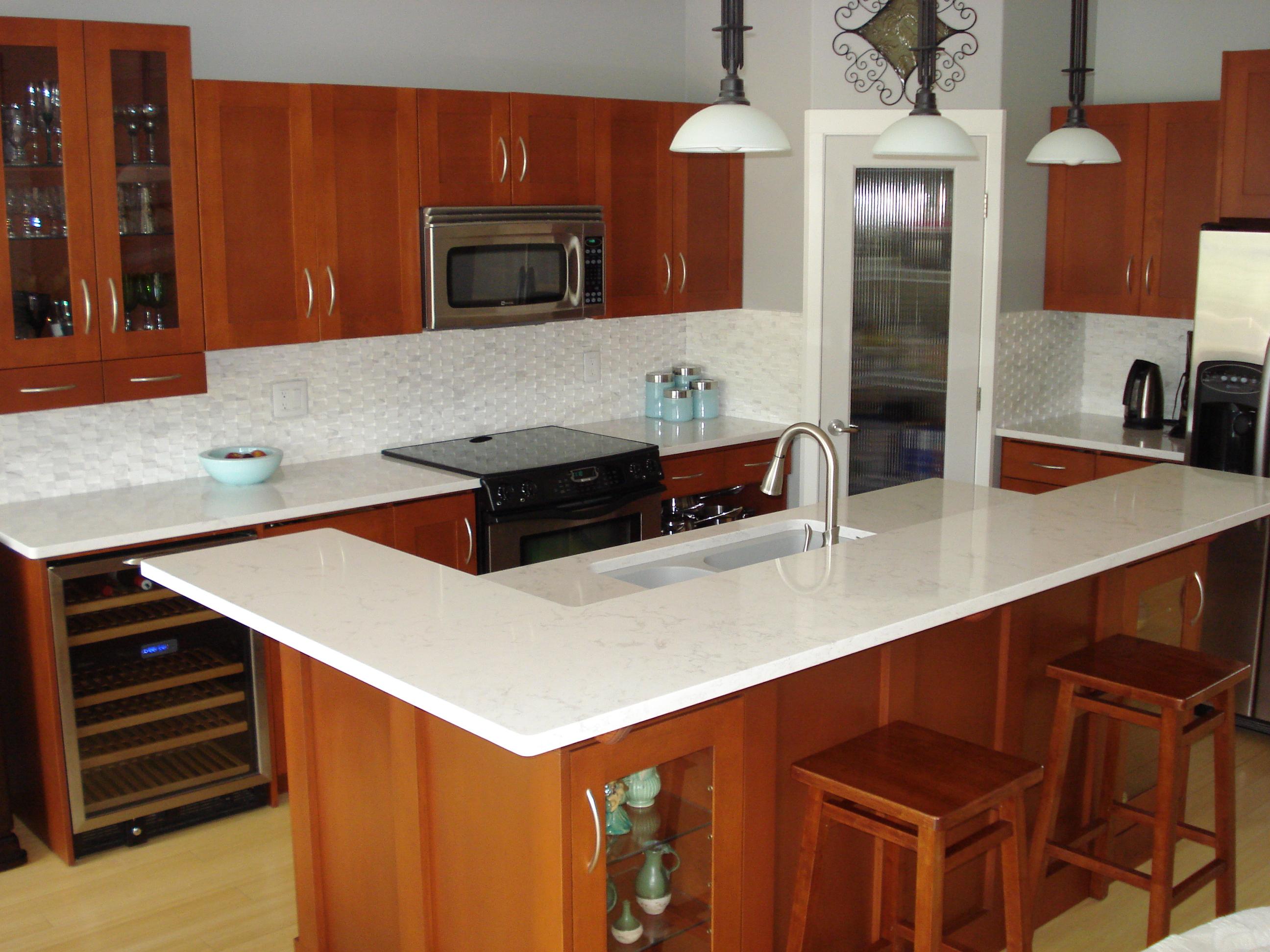 quartz countertops madeira stone penticton kelowna 2 countertops for kitchens Gorgeous White Quartz Countertops Make a Statement in this Okanagan Kitchen