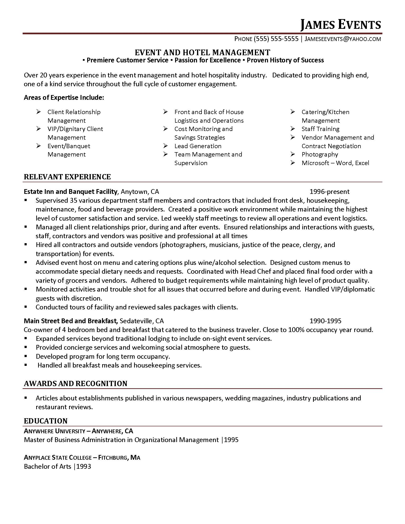 events manager resume  seangarrette cohospitalitymanagerresumesample event coordinator   events manager resume event planner