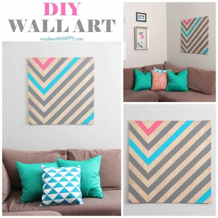 DIY Wall Art   Create your own large art piece for less than $20   Large Art Pieces for Cheap   www.madewithHAPPY.com