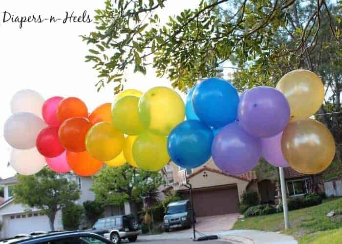 Rainbow balloon arch made with happy for How to make a rainbow arch