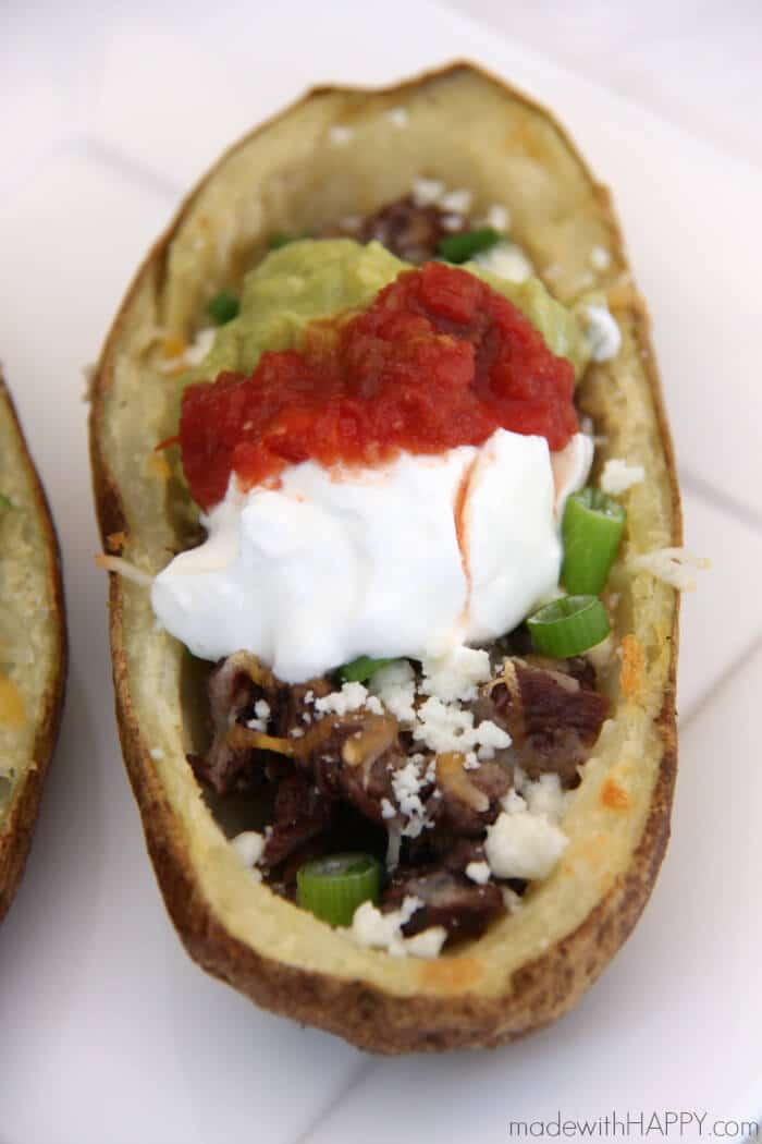 Carne Asada Potato Skins | Carne Asada Fries | Super Bowl Food | www.madewithHAPPY.com