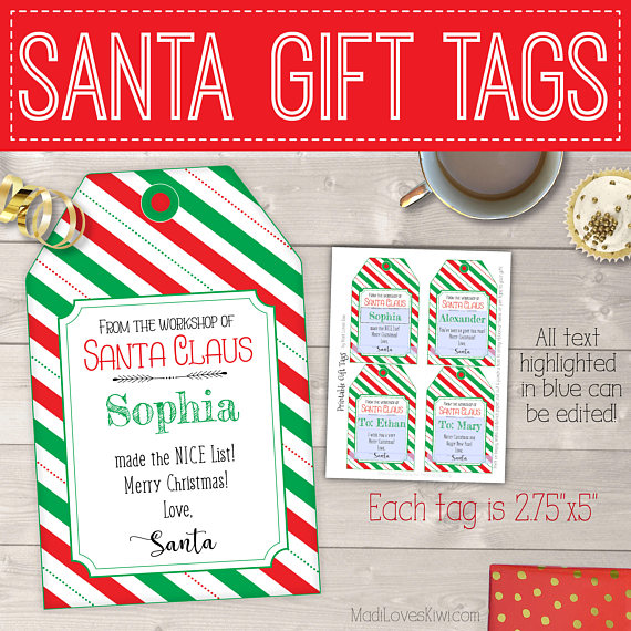 From the Workshop of Santa Gift Tags Red  Green Stripes