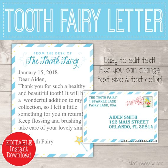 Blue Tooth Fairy Letter with Envelope Printable First Lost Tooth