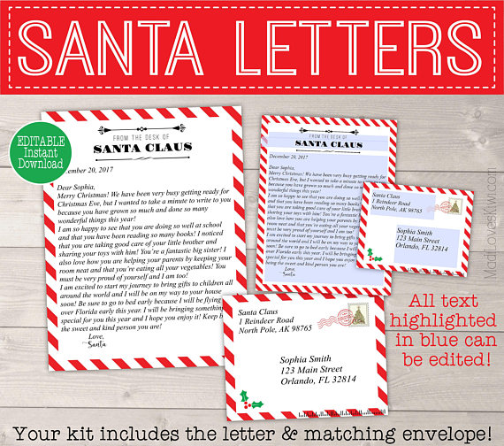 Letter from Santa Template with Envelope Red  White Candy Cane