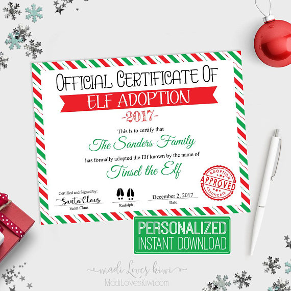 Personalized Elf Adoption Certificate Christmas Printable PDF
