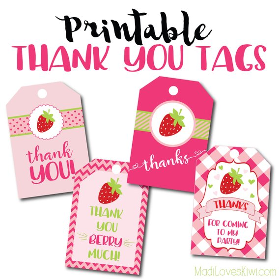 Strawberry Birthday Party Thank You Tags Printable Thank You Tags