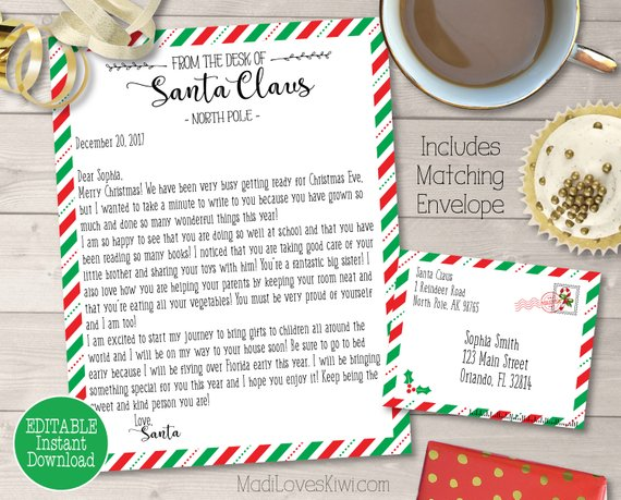 Personalized Letter from Santa Claus with Envelope Red  Green