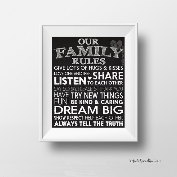 Family Rules Sign House Rules Printable Chalkboard Kitchen