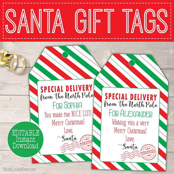 Christmas Gift Tag from Santa Claus Personalized Tags - Madi Loves