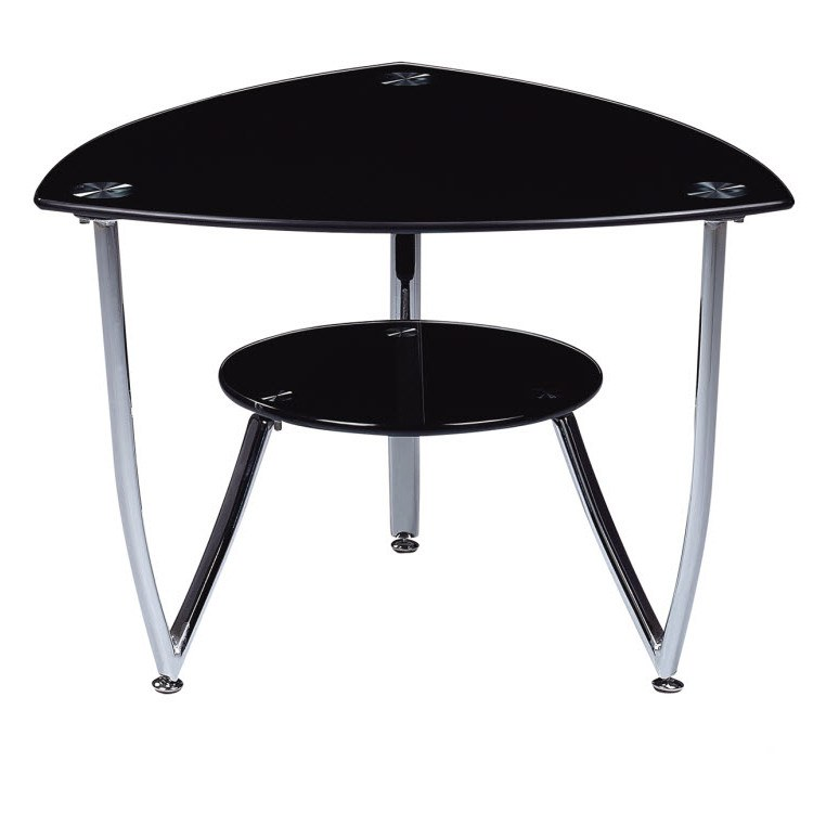 End Table W Black Glass Top By Global Furniture T601et