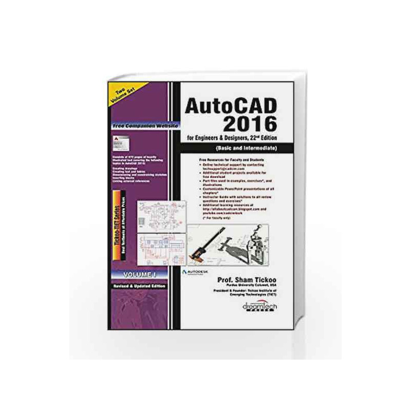 AutoCAD 2016 for Engineers  Designers, Set of 2 Vol, 22ed by TICKOO - autocad designers