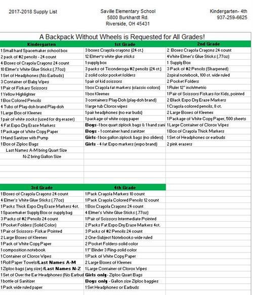 About Saville Elementary School / Student Supply List
