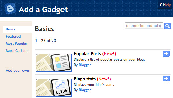 New Blogger Stats Widgets