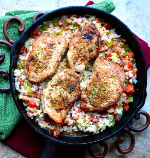 Poor Girls Spicy Pork Chops and Rice! A crazy delicious ONE PAN meal!