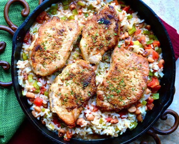 One Pan Pork Chops and Rice