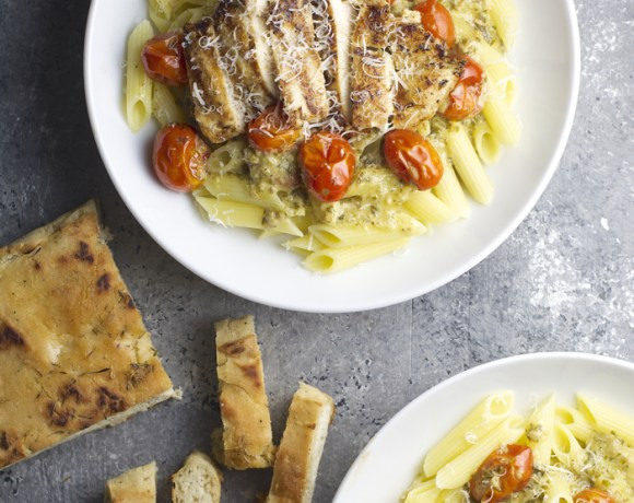 Grilled Garlic Chicken with Pesto Cream Sauce