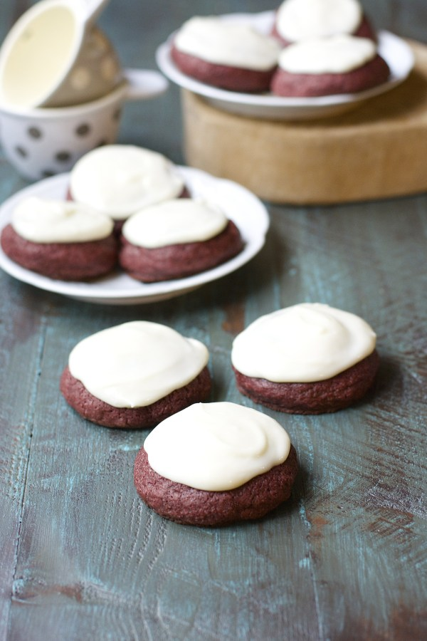 Red Velvet Cookies with Vanilla Cream Cheese Icing {gluten free ...