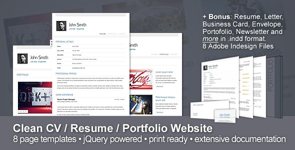 Clean CV / Resume / Portfolio Website + 10 Bonuses - HTML  Others