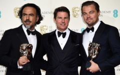 Mandatory Credit: Photo by David Fisher/REX/Shutterstock (5586119do) Alejandro G. Inarritu, Tom Cruise and Leonardo DiCaprio - Best Actor EE BAFTA British Academy Film Awards, Press Room, Royal Opera House, London, Britain - 14 Feb 2016