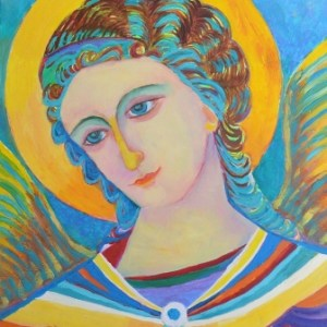 Ikona Święty Archanioł Gabriel ręcznie malowana Magdalena Walulik malarstwo sztalugowe