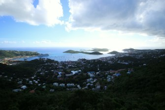 A view of Charlotte Amalie and the bay which is protected by Hassel Island.