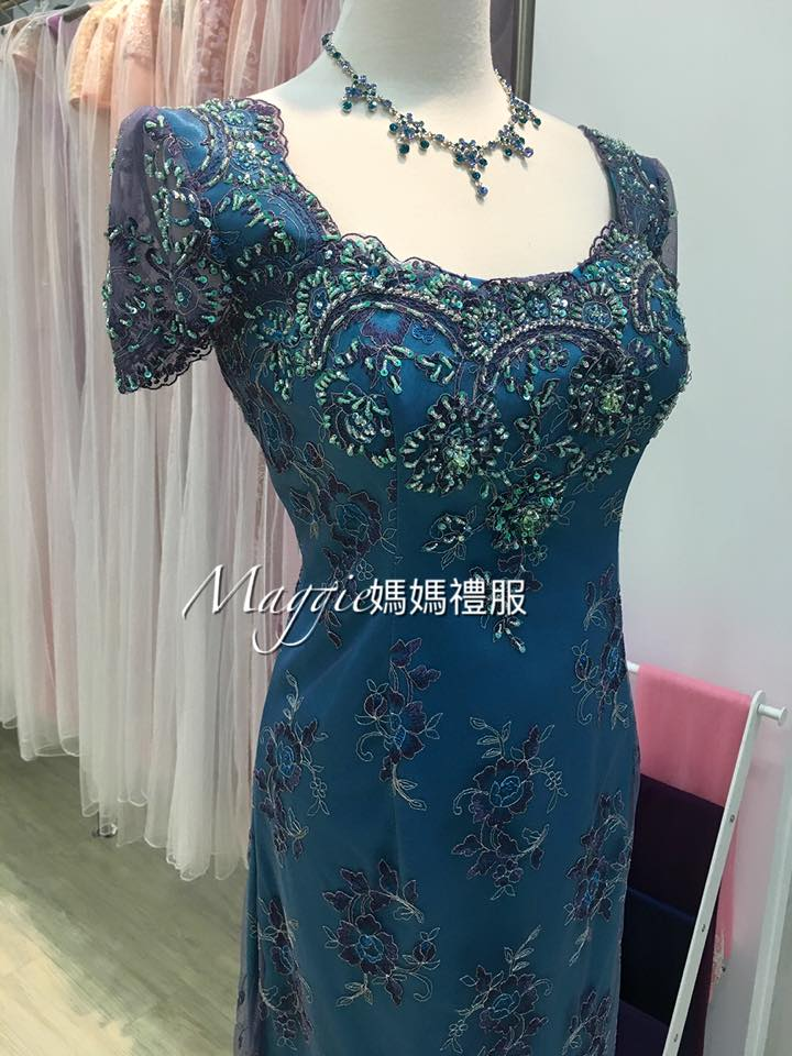媽媽禮服,土耳其藍,新古典風格