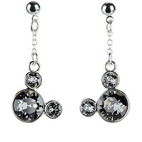 Disney Dangle Earrings - Crystal Mickey Mouse Icon - Gray