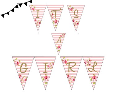 ITS A GIRL PINK FLORAL BANNER