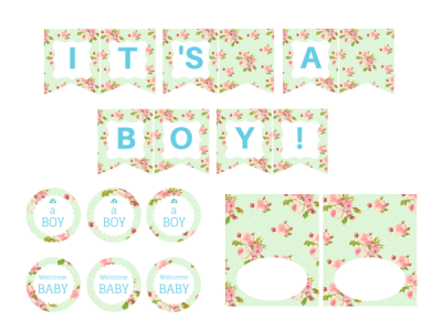 Mint Shabby Chic Boy Baby Shower