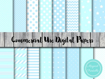 baby blue digital papers, baby boy digital papers, blue scrapbook papers, baby shower papers
