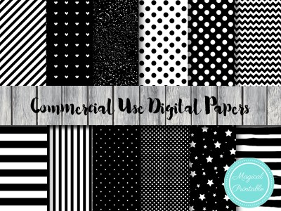 black and white digital papers, black stripes digital papers, black dots