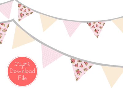 Pink Shabby Chic Banner, Pennant, Garland
